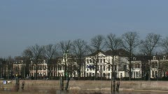 Skyline Deventer - Hanseatic houses at east bank of the river IJssel Stock Footage