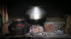 pot on the fire - stock footage