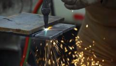 Cutting Steel Plate with Oxy-Acetylene Torch - Slow Motion - Close Stock Footage