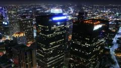 4K Night Cityscape Timelapse 75 Los Angeles Traffic Clouds Pan Stock Footage