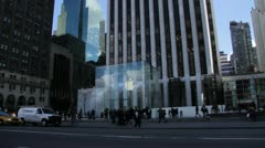 Apple Flagship Store, Fifth Avenue, NYC (Fast forward) Stock Footage