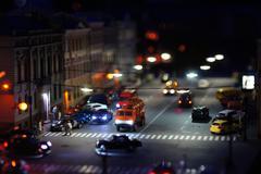 crosswalk at night - stock photo