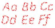 Stock Illustration of candy cane font a - f letters isolated