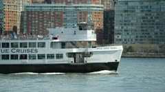 Sightseeing cruise travel boat ship sailing in New York - stock footage