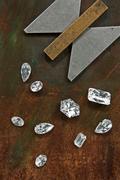 diamonds and tool - stock photo
