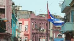 Big Cuban Flag Stock Footage