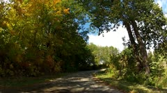 Driving on midwestern country road under fall tree canopy and past fields Stock Footage