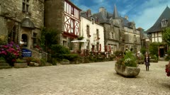 Tourists in the village of Rochefort-en-Terre - France Stock Footage