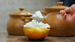A plate of cooked rice  Stock Footage