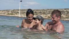 Happy family in the sea, super slow motion, shot at 240fps HD Stock Footage