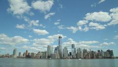 New York skyline wide tilt down 25p - stock footage