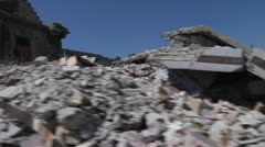 Driving Past Earthquake Rubble Stock Footage