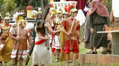 Christ is whipped Calvary Road by Roman legionaries Stock Footage