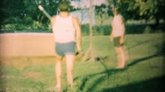 Young Man Practising Pole Vaulting In Backyard-1962 Vintage 8mm film Stock Footage