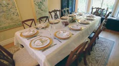 THANKSGIVING TABLE SETTING - stock footage