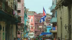 Havana Cuba Neighbourhood Slow Motion Cuban Flag Stock Footage