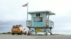 California Beach Lifeguard Tower Stock Footage