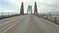 Crossing the Yaquina Bay Bridge - northbound 101 - timelapse Stock Footage