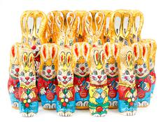 Group of easter chocolate rabbits - bunny Stock Photos