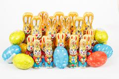 Group of easter chocolate rabbits - bunny and eggs Stock Photos