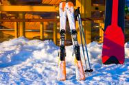 Stock Photo of Ski accessories near of Coffee-house at a ski resort.