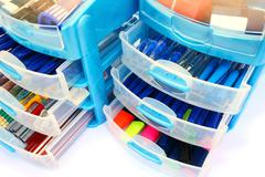 stationery drawers - stock photo