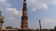 Aeroplane & Qutub Minar Stock Footage