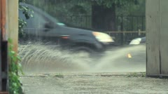 City In Flood After Storm Stock Footage