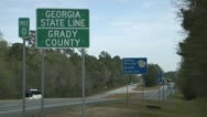Stock Video Footage of SOUTH GEORGIA STATE LINE BORDER SIGN