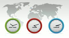New York, Paris, London Time zones Stock Footage