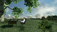 Stock Video Footage of Businessman with Office on green meadow, countryside scenery