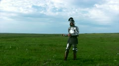 Knight in armor with a sword Stock Footage