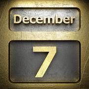 december 7 golden sign - stock illustration