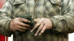 Dirty hands of auto mechanic - stock footage