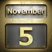 november 5 golden sign - stock illustration