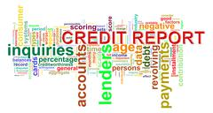 credit report word tags - stock illustration