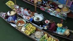 Stock Video Footage of floating market bangkok thailand