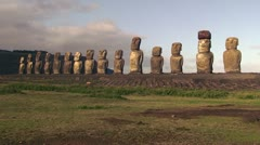 Moai statues at Ahu Tongariki on Easter Island Stock Footage