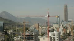 Santiago chile skyline with cranes Stock Footage