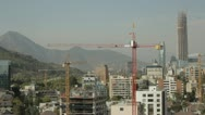 Stock Video Footage of Santiago chile skyline with cranes