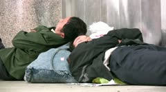 Migrant workers, China, train station, sleeping Stock Footage