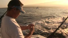 Fisherman Preparing Lines in Route Stock Footage