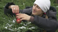 Decorating Christmas tree in nature Stock Footage