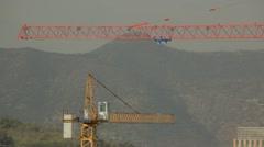 Construction cranes in Santiago chile Stock Footage