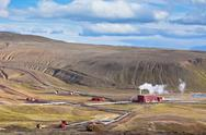 Stock Photo of geothermal power station in iceland at summer sunny day