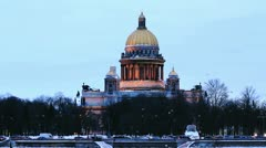 Isaac Cathedral and Neva River in Winter Stock Footage