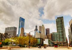cityscape of chicago with the willis tower (sears tower) - stock photo
