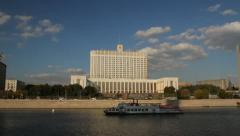 White house building in Moscow.Timelapse in motion Stock Footage