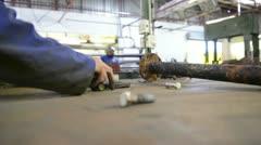 An industrial service repairmen labouring in workshop Stock Footage
