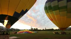 Wide Pan of 2 Air Balloons Stock Footage
